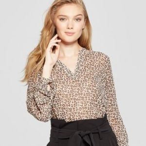 A New Day Leopard Print Popover Blouse NWOT